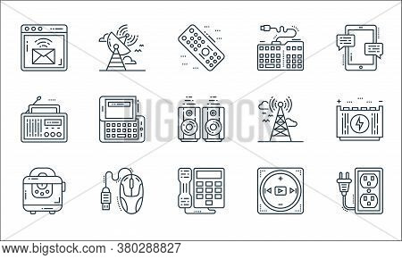 Technology Devices Line Icons. Linear Set. Quality Vector Line Set Such As Extension Cord, Telephone
