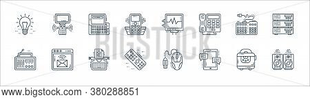 Technology Devices Line Icons. Linear Set. Quality Vector Line Set Such As Woofer, Mobile Chat, Remo