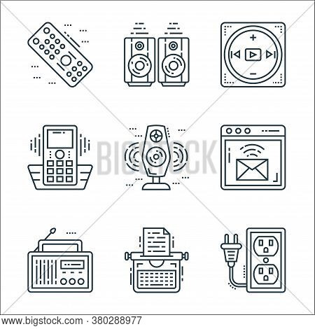Technology Devices Line Icons. Linear Set. Quality Vector Line Set Such As Extension Cord, Typewrite