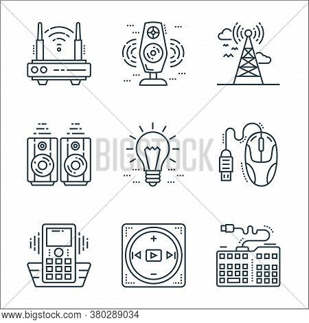 Technology Devices Line Icons. Linear Set. Quality Vector Line Set Such As Keyboard, Multimedia Opti