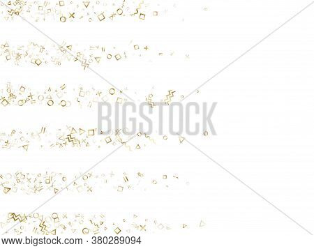 Memphis Style Gold Geometric Confetti Vector Background With Triangle, Circle, Square Shapes, Zigzag