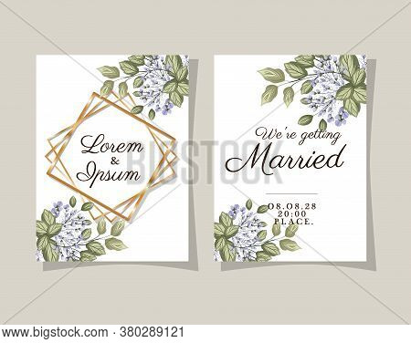 Two Wedding Invitations With Gold Frames Flowers And Leaves On Gray Background Design, Save The Date