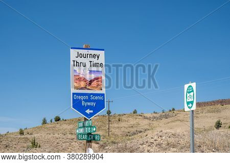 Mitchell, Oregon - August 2, 2020: Sign For The Journey Through Time Oregon Scenic Byway Which Goes