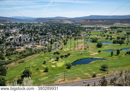 Beautiful Cityscape And Golf Course Aerial Overlook Of Prineville From Ochoco State Scenic Viewpoint