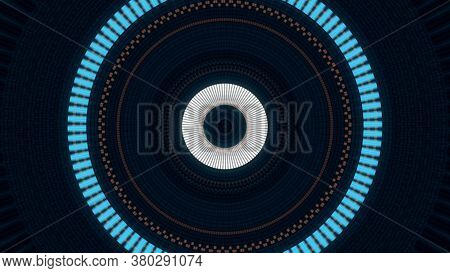 Abstract Moving Flashing Large Rings On Black Background, Seamless Loop. Animation. Pulsating Circle