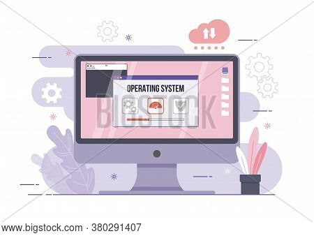 An Illustration Of Os Operating System Software Computer Desktop Screen Gear And Shield Icon Concept