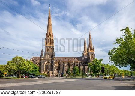 Facade Of St Patrick's Cathedral In Melbourne, Australia