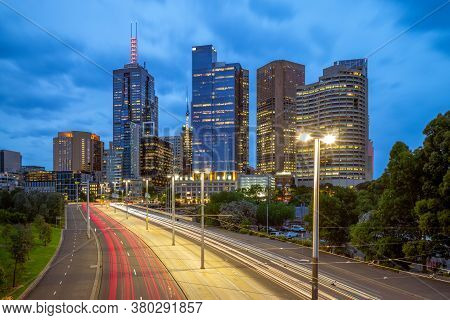Skyline Of Melbourne At City Business District