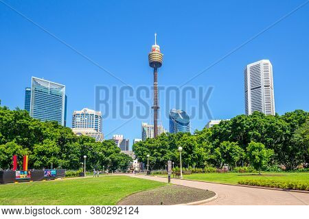 January 5, 2019: Sydney Tower And Hyde Park In Sydney, Australia. Sydney Tower Is The Tallest Struct