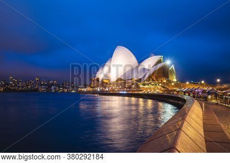 January 6, 2019: Sydney Opera House At Night In Sydney, Australia. This Building Is One Of The World