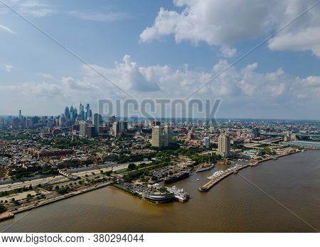 Aerial View Over The Philadelphia Downtown Center City Scenic Cityscape Skyline With Pa Usa