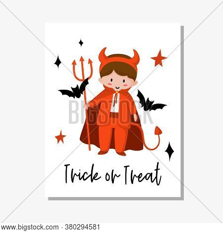 Halloween Cartoon Greeting Card Or Nursery Poster - Baby Boy In Halloween Red Costume Of Devil Or Sa