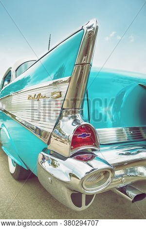 Westlake, Texas - October 21, 2017: Tailfin And Tail Light Details Of An Aqua Color 1957 Chevrolet B