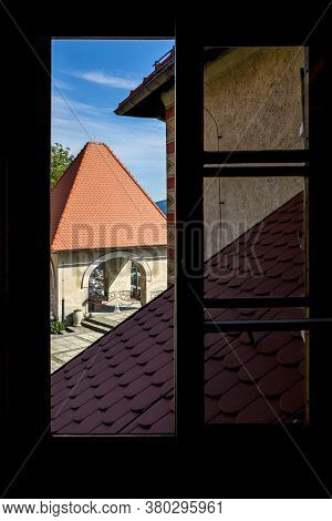 Bled, Slovenia - August 15, 2019: View From The Window Of The Bled Castle Museum