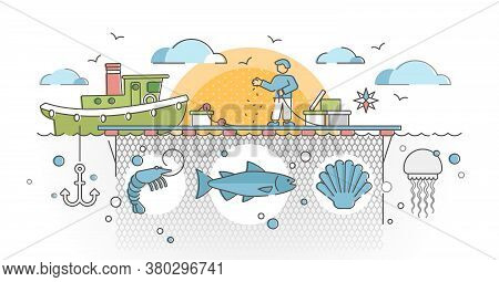 Aquaculture As Seafood Farming For Production Cultivation Outline Concept. Marine Farm Business With