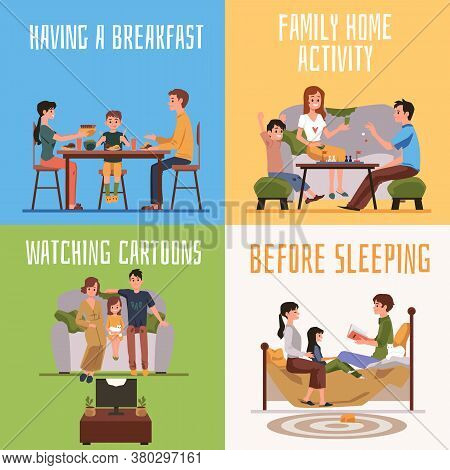 Family Members Home Activity And Communication Banners Set,