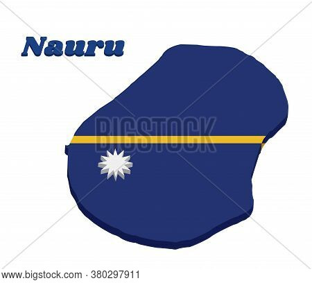 3d Map Outline And Flag Of Nauru, A Blue Field With The Thin Yellow Narrow Horizontal Stripe Across