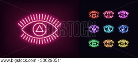 Neon Magic Eye Icon. Glowing Neon Eye Sign With Triangular Iris, Spiritual Vision In Vivid Colors. M