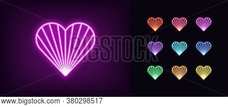 Neon Heart Icon. Glowing Neon Heart Sign With Beaming Texture, Amour Shape In Vivid Colors. Romantic