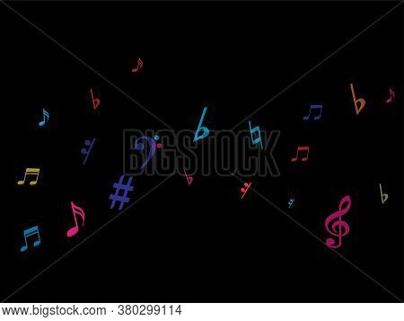 Color Flying Musical Notes Isolated On White Background. Fresh Musical Notation Symphony Signs, Note