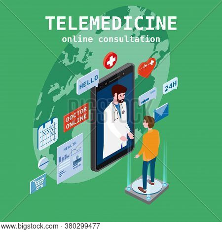 Telemedicine Smartphone Concept Characters Doctor And Patient Consultation Diagnosis By Internet. On