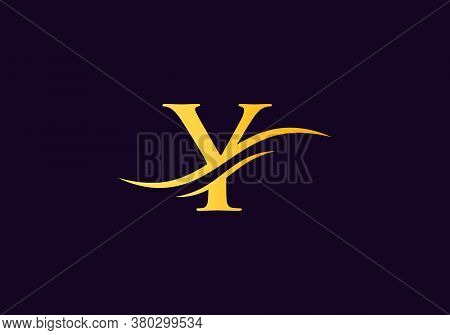 Water Wave Y Logo Vector. Swoosh Letter Y Logo Design For Business And Company Identity.