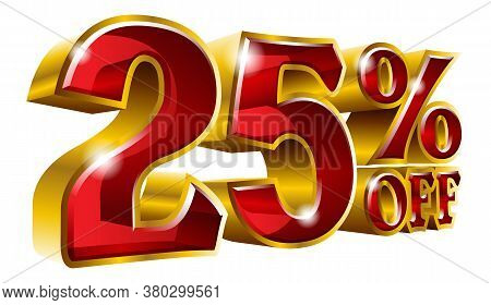 25% Off - Twenty Five Percent Off Discount Gold And Red Sign. Vector Illustration. Special Offer 25