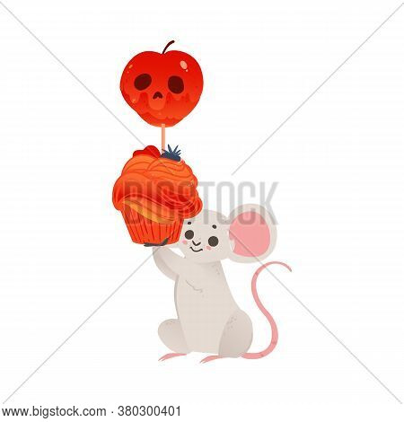 Halloween Card With Mouse And Frightening Elements Vector Illustration Isolated.