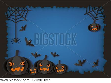 Paper Cut Origami Halloween Background With Pumpkins Vector Illustration.