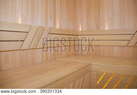 New Wooden Traditional Finland-style Sauna Made From Pine Wood.classic Sauna Interior, Clean, Dry Be
