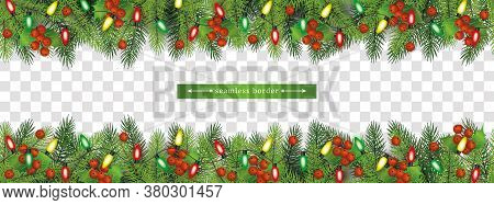 Christmas Fir-tree Upper And Lower Seamless Border Vector Illustration Isolated.