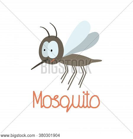 Hand Drawn Illustration For World Mosquito Day In August 20. Vector Mosquito And Hand Written Text.