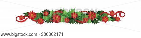 Christmas Border Divider - Red Poinsettia Flowers With Green Leaves