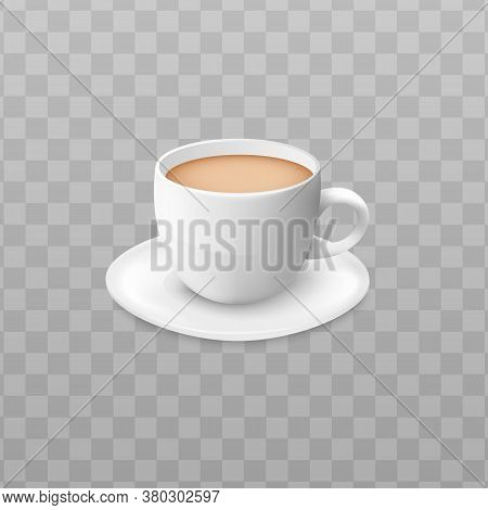 Cup Of Brown Coffee On A Saucer For Cafe.
