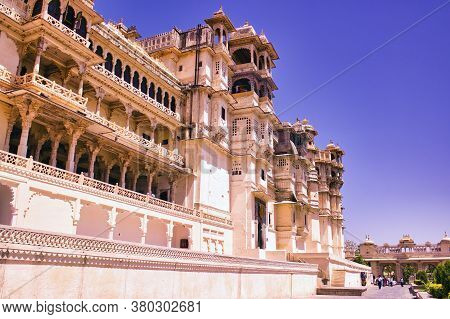 Udaipur, India - May 23, 2013: City Palace, Located On The Banks Of Lake Pichola Built By Maharaja S
