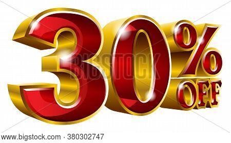 30% Off - Thirty Percent Off Discount Gold And Red Sign. Vector Illustration. Special Offer 30 % Off