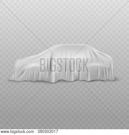 Realistic White Car With Fabric Or Cloth Curtain Cover Of Silk Or Satin.