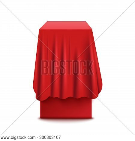Realistic Red Box Or Stand With A Fabric Cover For Curtains Of Silk Or Satin.