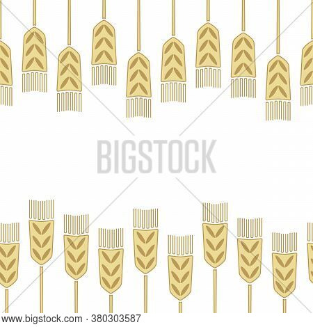 Border With Wheat Ears . White And Gold Vector Illustration. Design Of Postcards, Posters, Invitatio