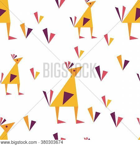Vector Seamless Pattern With Birds In Geometric Style. Origami Figures. Pattern For Fabric, Children