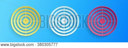 Paper Cut Target Sport For Shooting Competition Icon Isolated On Blue Background. Clean Target With