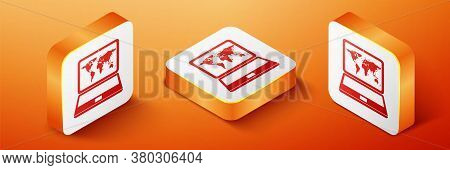Isometric Laptop With World Map On Screen Icon Isolated On Orange Background. World Map Geography Sy