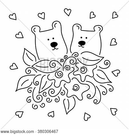 Vector Cartoon Cute Two Bears. Animals Illustration. Bouquet Of Flowers. Perfect For Postcard, Birth
