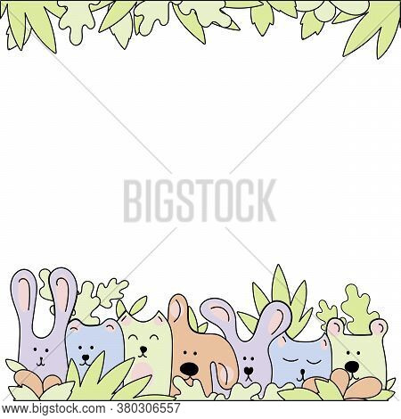 Vector Line Drawing. Doodle Illustration. Animals Look Out Of The Leaves. Poster Template, Greeting