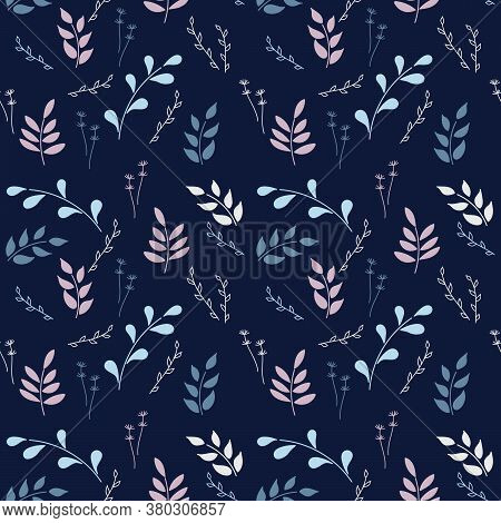 Botanical Seamless Pattern On Dark Background. Twigs With Leaves, Different Types Of Plants