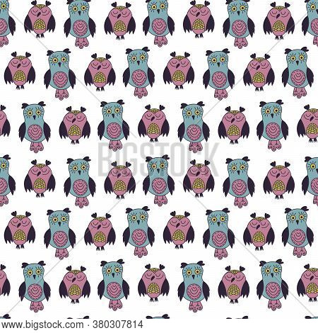 Vector Seamless Pattern Of Cute Colorful Owls. Hand Drawn Illustration On White Background