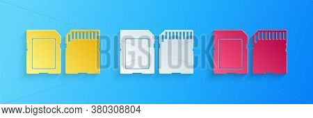 Paper Cut Sd Card Icon Isolated On Blue Background. Memory Card. Adapter Icon. Paper Art Style. Vect
