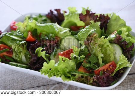 Vegetarian Food. Detox Vegetable Salad - Lettuce, Tomato, Cucumber Seasoned Lemon-olive Gravy. A Dis