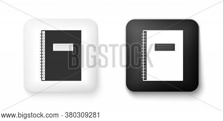 Black And White Notebook Icon Isolated On White Background. Spiral Notepad Icon. School Notebook. Wr