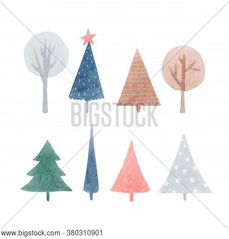Beautiful Set With Cute Abstract Watercolor Forest Trees. Stock Illustration.